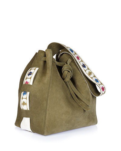 Syros Embroidered Suede Tote Bag, Khaki