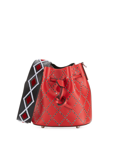 Mini Daliah Studs Bucket Bag, Red