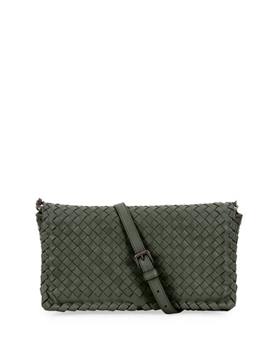 Small Intrecciato Flap Clutch Bag w/Strap, Gray