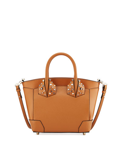 Eloise Small Leather Tote Bag, Brown