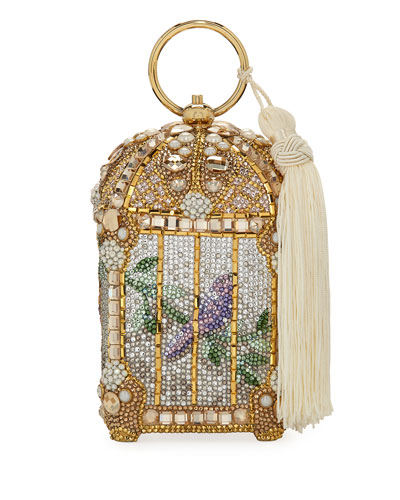 Birdcage Crystal Beaded Tassel Clutch Bag