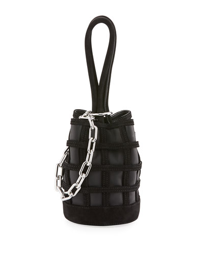 Three-Way Leather Bucket Bag, Black
