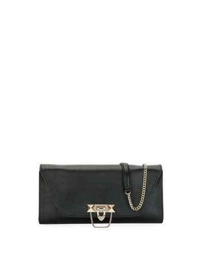 Demilune Leather Chain Clutch Bag