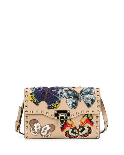 Rockstud Embroidered Shoulder Bag, Camel