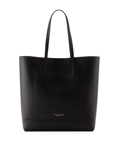Modern Leather Tote Bag, Black