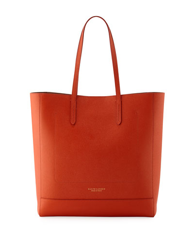Modern Leather Tote Bag, Dark Orange