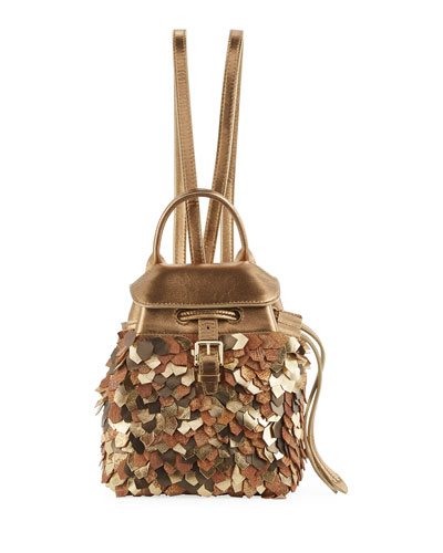 Metallic Leather Micro Backpack, Gold