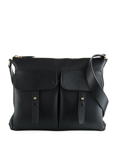 Pebbled Leather Crossbody Hobo Bag, Black