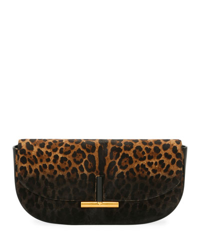 Small Sasha Leopard-Print Calf Hair Clutch Bag, Black Pattern
