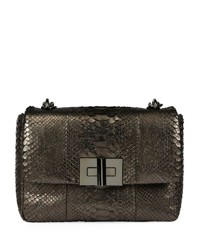 Natalia Large Cosmo Python Shoulder Bag, Dark Gray