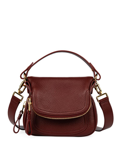 Jennifer Mini Grained Leather Shoulder Bag, Dark Red