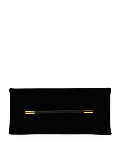 Ava Velvet Pochette Clutch Bag, Black