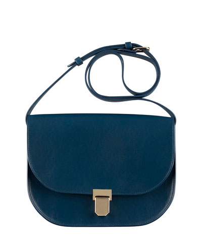 Vienne Leather Saddle Bag, Blue