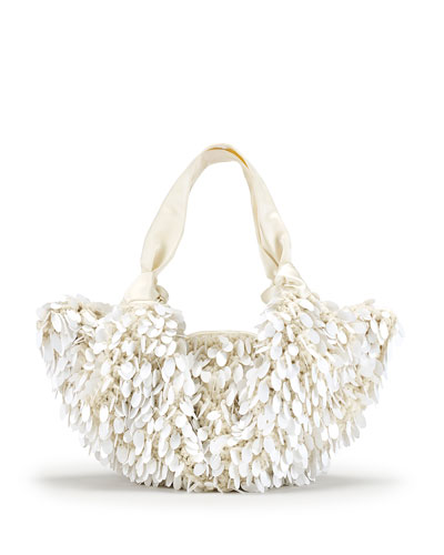 The Ascot Medium Sequined Hobo Bag, White Pattern