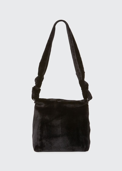 Wander Small Mink Fur Bag, Black