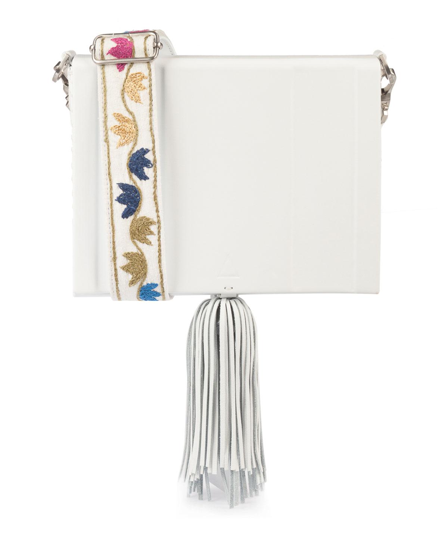 Atiki Embroidered Leather Tassel Bag, White