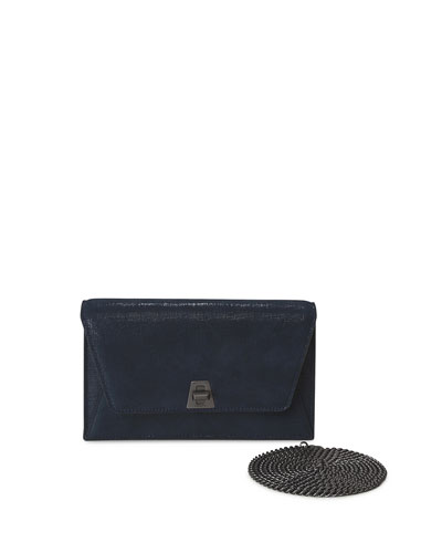 Anouk Denim Lamé Envelope Clutch Bag, Blue