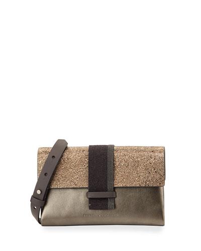 Metallic Monili-Beaded Crossbody Bag, Bronze
