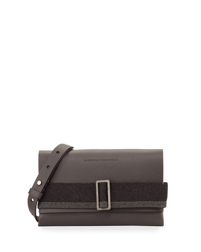 Buckled Leather Crossbody Bag, Medium Gray