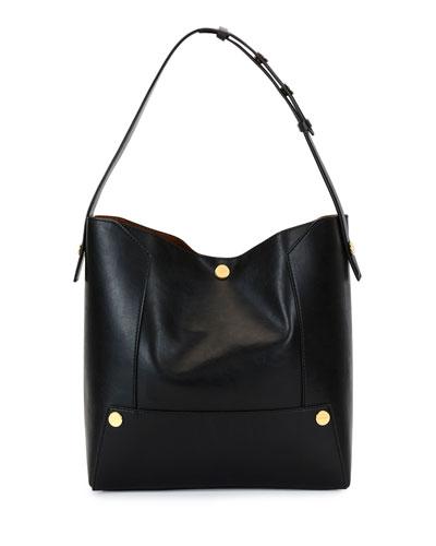 Alter Textured Eco Faux-Napa Shoulder Bag, Black