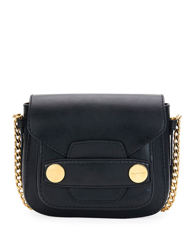 Popper Medium Faux-Leather Crossbody Bag, Black