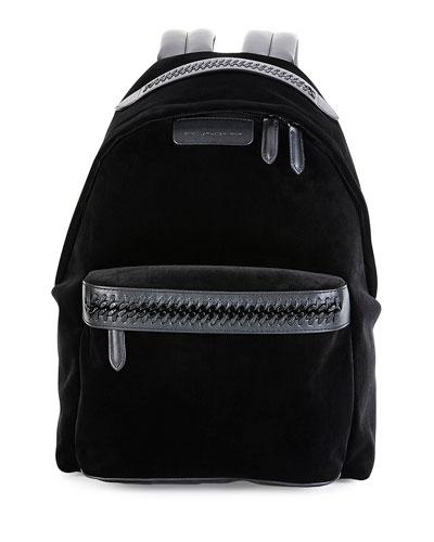 Falabella Go Medium Velvet Backpack, Black