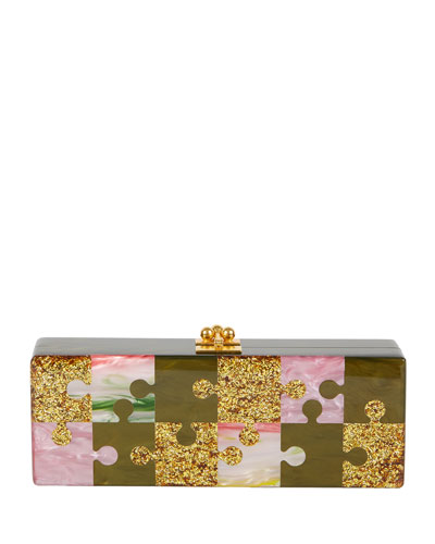 Flavia Puzzle Piece Clutch Bag, Khaki
