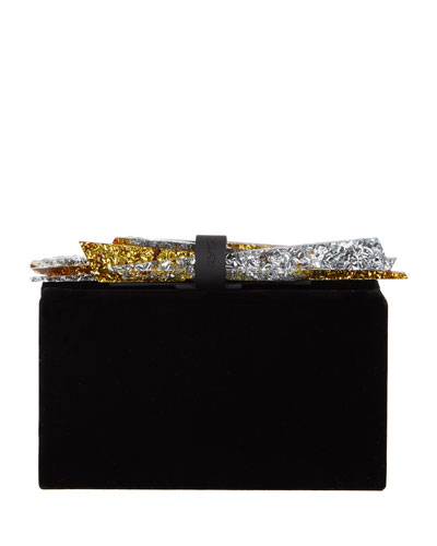 Wolf Shard Velvet Clutch Bag, Black