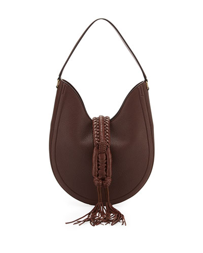 Ghianda Small Woven Leather Hobo Bag