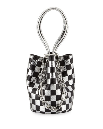 Roxy Mini Checkered Leather & Snakeskin Bucket Bag, Black
