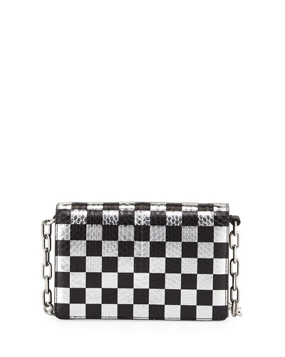Attica Checkered Leather & Snakeskin Shoulder Bag, Black