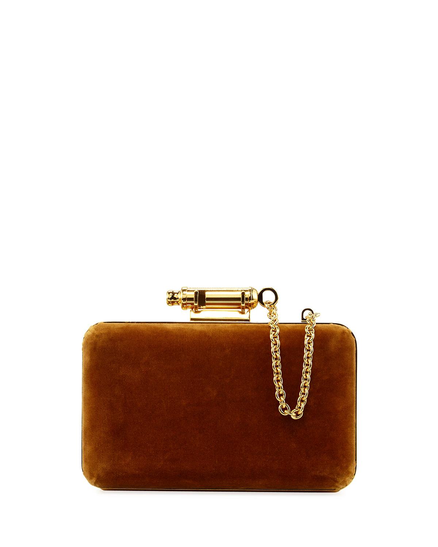Whistle Velvet Clutch Bag, Tan