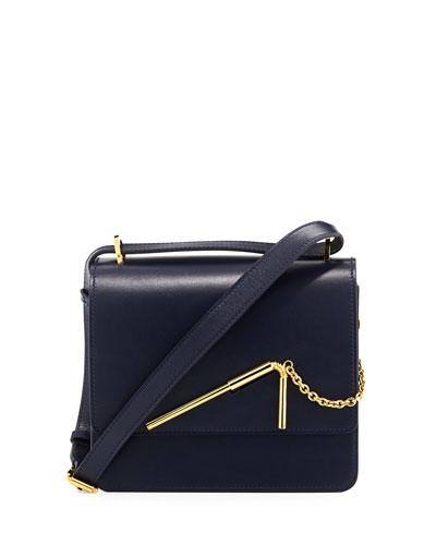 Medium Leather Drinking-Straw Saddle Bag, Navy