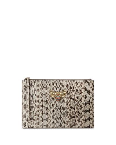 Snakeskin Fly Zip Wristlet Pouch Bag