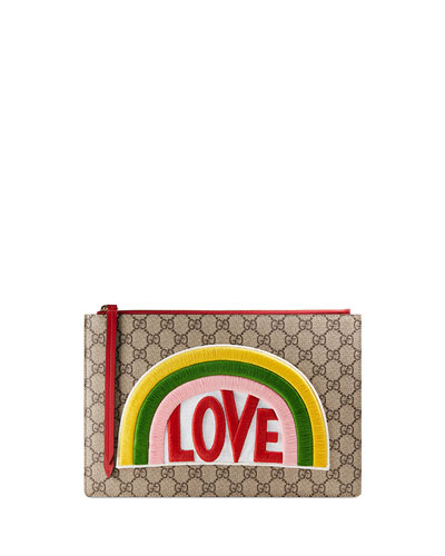 Love Canvas Zip Clutch