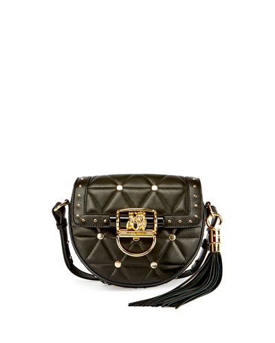 44-18 Quilted Lambskin Tassel Saddle Bag, Black