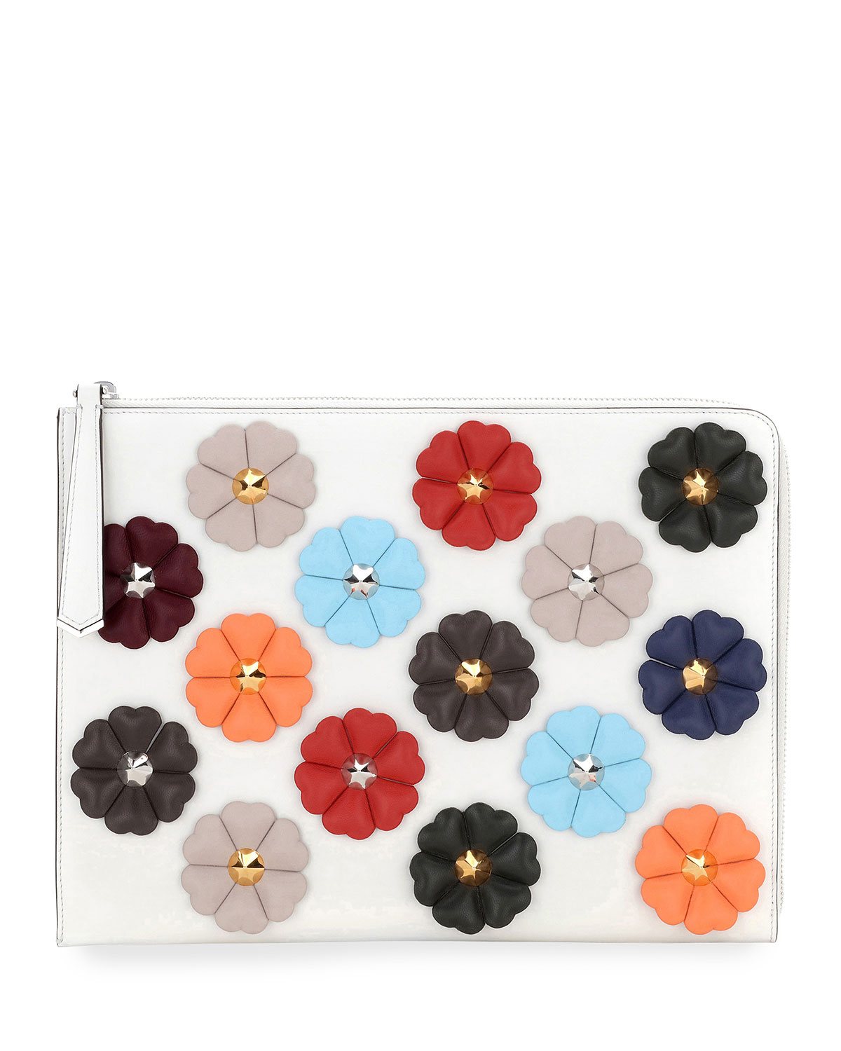 Floral-Studded Leather Pouch Bag, White