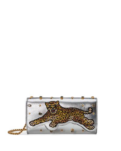 Broadway Tiger-Embellished Leather Clutch Bag