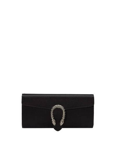 Dionysus Satin Clutch Bag, Black