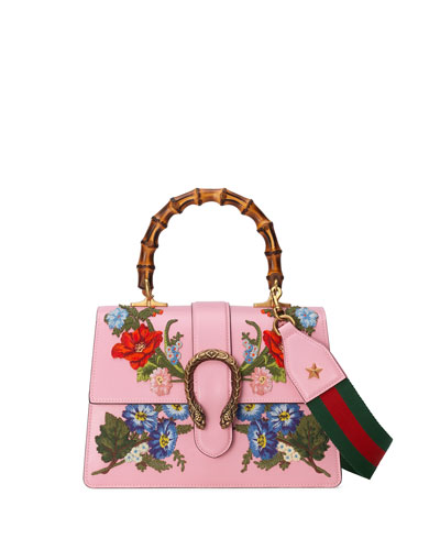 Dionysus Small Embroidered Floral Satchel Bag, Pink