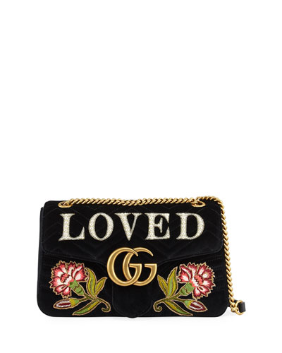 GG Marmont 2.0 Loved Medium Quilted Shoulder Bag, Black