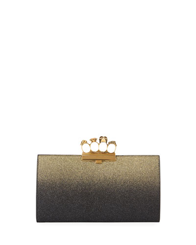 Glitter Ombre Flat Knuckle Clutch Bag