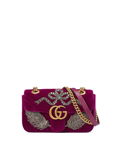 Velvet GG Marmont 2.0 Mini Shoulder Bag, Fuchsia