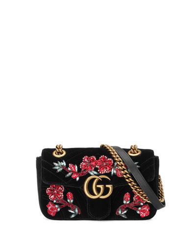 GG Marmont 2.0 Mini Velvet Shoulder Bag, Black