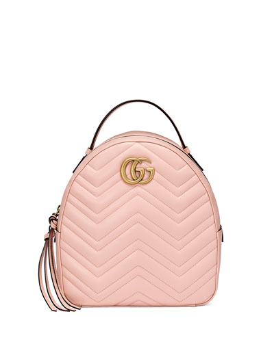 Gg Marmont Chevron Quilted Leather Mini Backpack in Pink