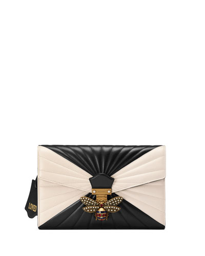 Small Linea Bee Clutch Bag, Black