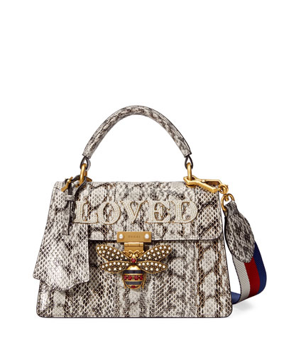 Queen Margaret Loved Snakeskin Top-Handle Bag, Roccia Natural