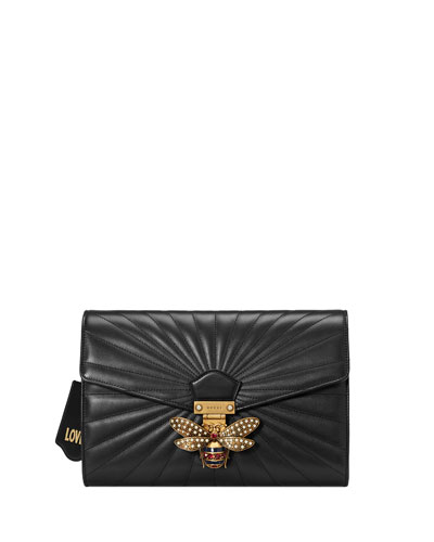 Linea Quilted Leather Bee Clutch Bag