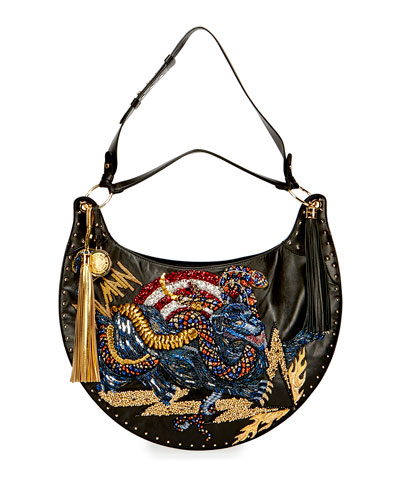 Domaine Panther-Embroidered Shoulder Bag, Black