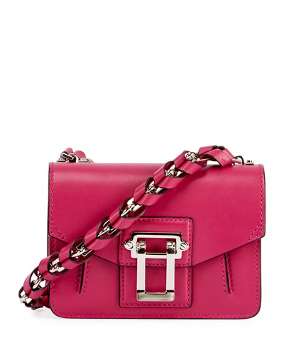 Hava Chain Leather Crossbody Bag, Pink